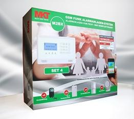 Model M2BX GSM Funk Alarmanlage mit Touchpad Monitor + Alarm SMS Anruf * Service + Support + Garantie * 100 Zonen erweiterbar * Deutsche Anleitung * Set 4 mit 4 Bewegungsmelder + 9 Türkontakten -